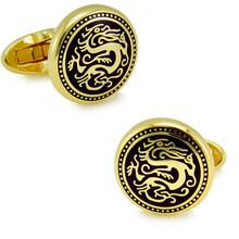 Gold plated + Enamel round Cuffliks dragon pattern high quality metal men's Cuff Links + Free Shipping !!! metal buttons