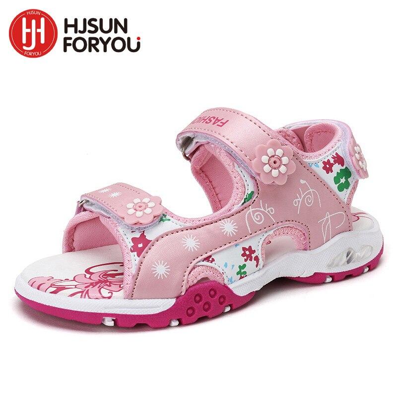 2018 летние детские пляжные сандалии модная обувь для девочек повседневные туфли принцессы детская обувь детские Нескользящие sandalias