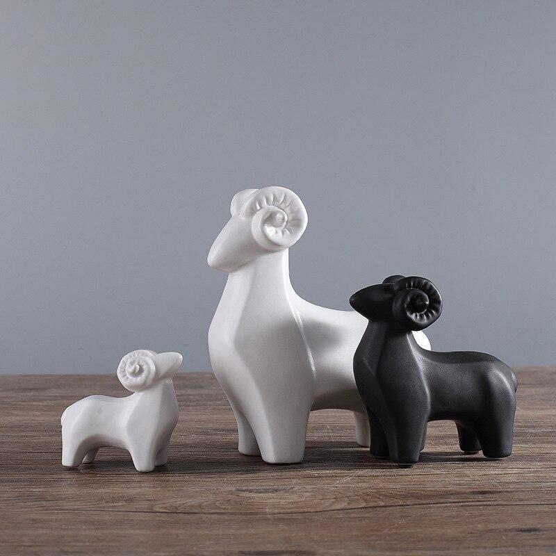 Рождественский подарок 1 набор керамических ремесел три Рэмс приносить Bliss животное Модель рабочего стола Украшение домашний Декор подарок на день рождения орнаменты - 2