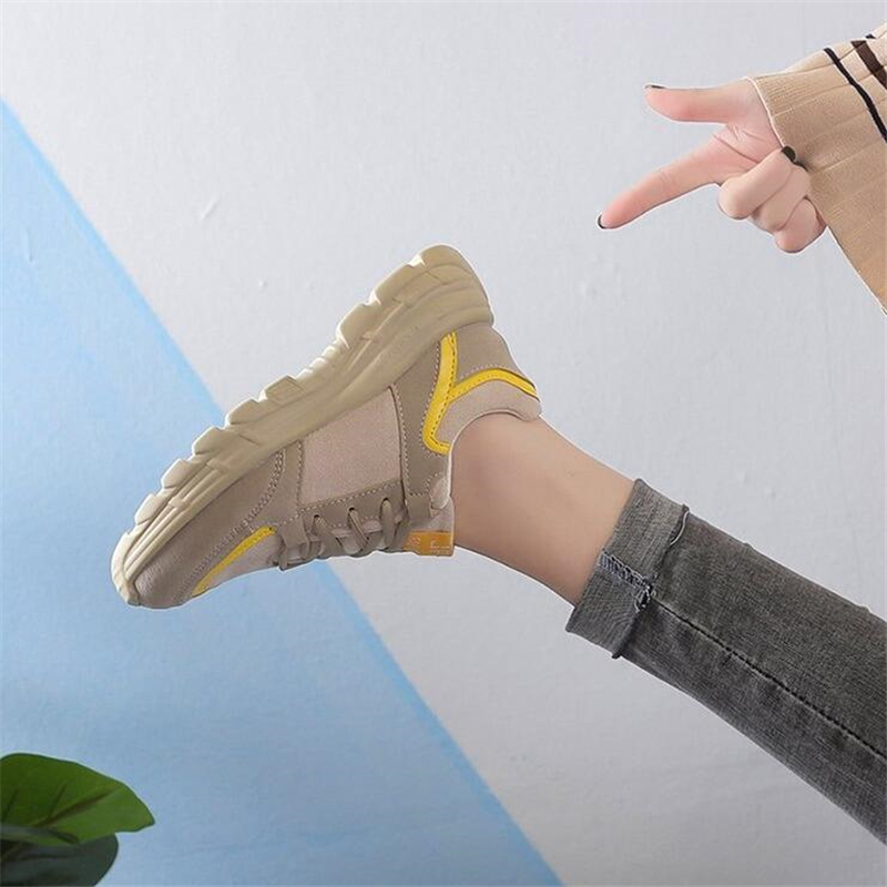 Spring Autumn 2019 Daddy shoes female new Walking shoes Sponge cake Thick bottom Student Genuine leather Leisure Tennis shoes 4