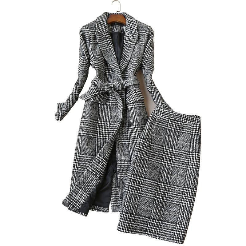 Haute Costume Long Jupe À Mince Gray Femmes Taille 2018 Automne De Hiver Pièces Carreaux Veste Nouveau Laine Manteau Professionnel Deux Uq4S74