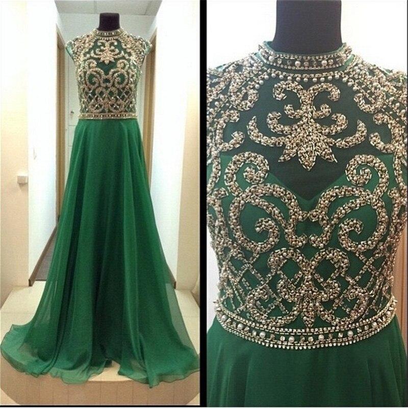 Custom Made Elegant A Line High Neck Cap Sleeve Emerald Green   Evening     Dresses   With Crystals Formal   Dresses   Robes De Soiree IZ649