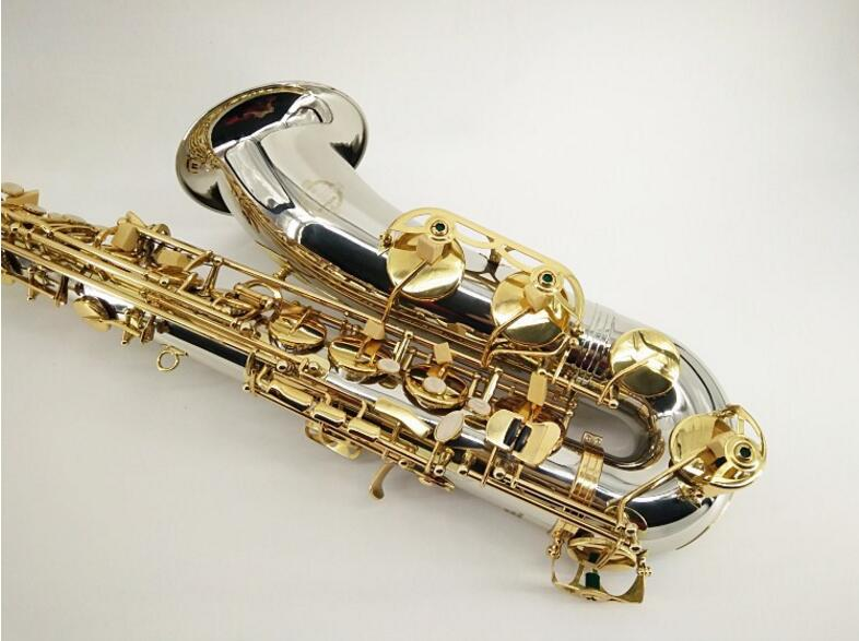 Fast Shipping SUZUKI Tenor Bb Saxophone Silver Plated Tube Gold Key B Flat Tune Sax Musical Instrument With Case and Accessories black salmer 54 tenor sax b flat saxophone top musical instrument saxe wear resistant black nickel gold professional sax