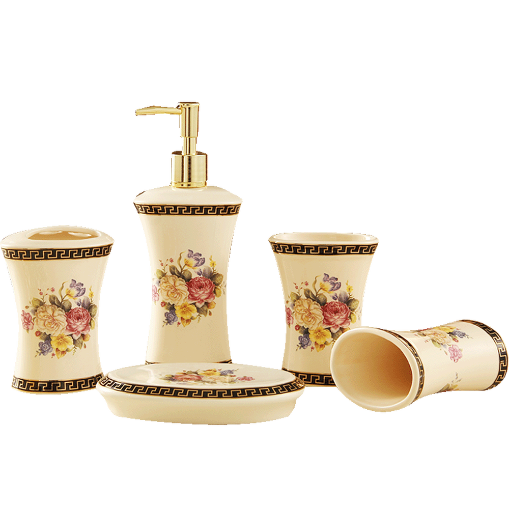 A1 Sanitary ware set gift bathroom accessories Peony ceramic bathroom five-piece bathroom set LO88212 sanitary ware ffcf6588 towel bar bathroom accessories metal pendant