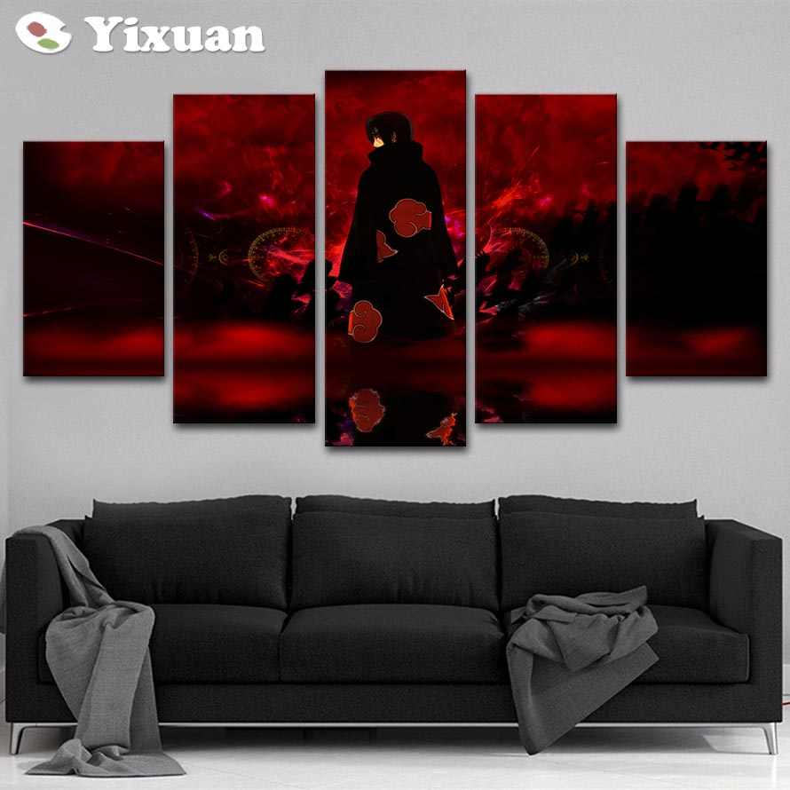 Modern Canvas Poster For Living Room Wall Art 5 Pieces Akatsuki Uchiha Itachi Painting HD Prints Home Decor Framework