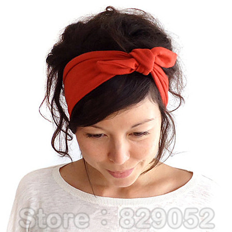 ear elastic headband for woman girl knot bandage hairband. Black Bedroom Furniture Sets. Home Design Ideas