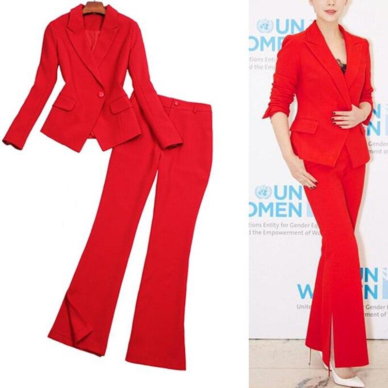 Entaillé Élégant Veste Tenues Pièce rouge Femmes De Partie Ensemble Dame 2 Formelle bleu Noir Sexy Costume Bureau Costumes Soirée Pantalon Travail Femme v4wwp
