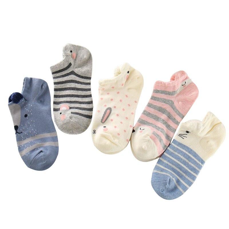 5 Pairs Women Ankle Socks Funny Cute Cartoon Stereoscopic Animals Ear Plush Boat Socks Womens Lady Girl Art Sock Meias Short Sox