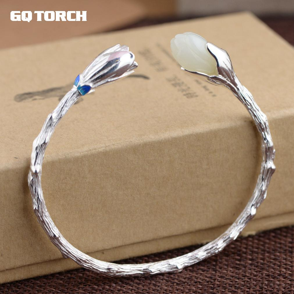GQTORCH Authentic 925 Silver Cuff Bracelets Woman Natural White Jade Inlaid Flower Engraved Enameling Vintage Bangles