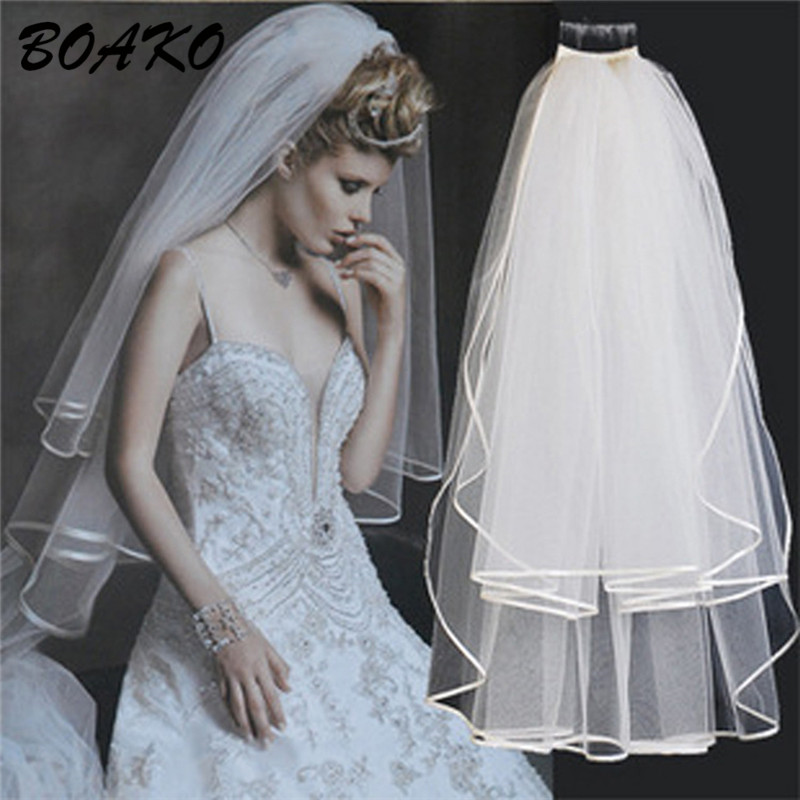BOAKO Two Layers Short Tulle White Wedding Veils Ivory Bridal Veil With Comb Elegant Cathedral Mariage Accessories purdah