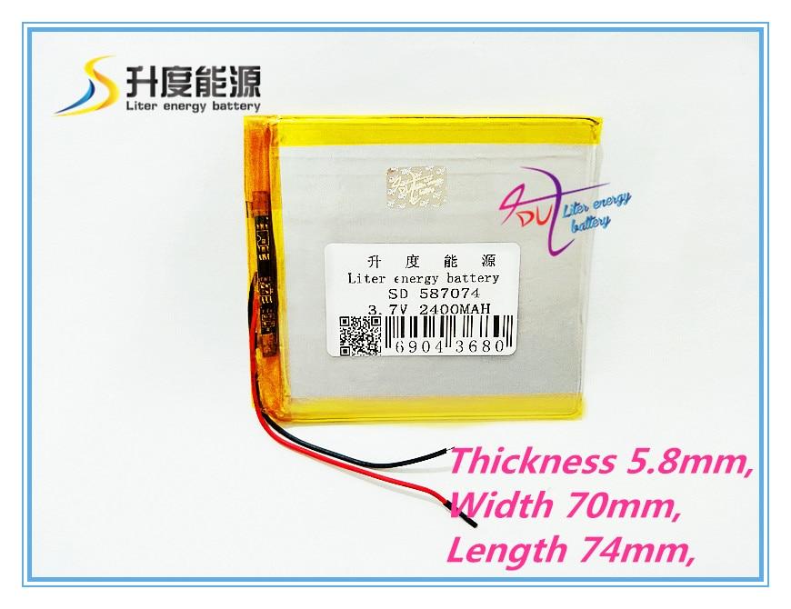 best battery brand 3.7V,2400mAH,[587074] PLIB; polymer lithium ion / Li-ion battery for dvr,GPS,mp3,mp4,cell phone tablet batte
