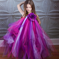 2016 Fashion Purple Flower Girl Dresses Halter Flowers Ball Gown Wedding Dresses Birthday Party Prom Baby