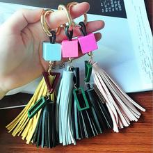 wooden block Key chain women PU leather tassels keychain bag pendant alloy car key chain ring holder retro jewelry fashion girl bag pendant fan shape tassels key chain car ornaments