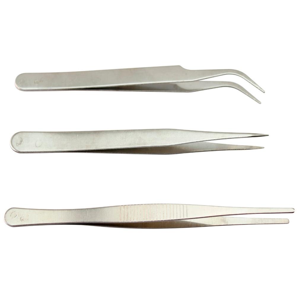 Kit 3 Professional Security Antistatic Tweezers High Quality Silver Anatomy