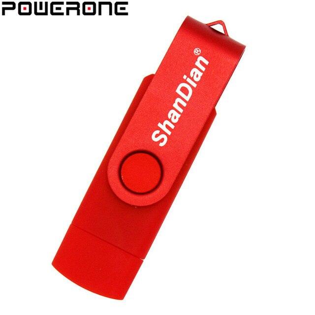 Powerone Kinh Doanh nhựa 2 trong 1 OTG USB Đèn LED Di Động Pendrive 4 GB 8 GB 16 GB 32 GB 64 GB dành cho điện thoại thông minh