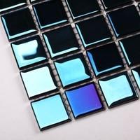 Blue Color Stained Glass Mosaic For Kitchen Backsplash Tile Bathroom Shower Tile Hallway Bedroom Wall Border
