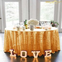 108in 275cm Round Rose Gold Sequin Table Cloth, Shimmer Sparkly Overlays Tablecloths for Wedding /Party/Christmas Decor x9418