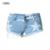 Frete Grátis Hot Cintura Alta Estiramento Denim Shorts New Verão Bordados de Flores Mulheres Casuais Jeans Curto Calças Plus Size