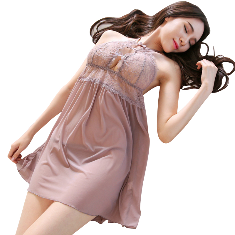 New sexy lingerie sexy hanging neck lace skirt perspective mesh female temptation backless nightdress in Babydolls Chemises from Novelty Special Use