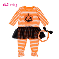 Halloween Pumpkin Baby Rompers Yellow Cotton Warm Newborn Twins Clothes Fall Long Sleeve Toddler Clothing For