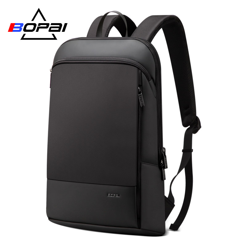 BOPAI Slim Men Backpack Thin Ultralight Laptop Backpack for 15.6inch Fashion Office Work Waterproof Business Backpack for Men image