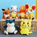 Hot 8 Estilo 30 cm Snorlax Pikachu Eevee Pokemon Bulbasaur Squirtle Charmander Macio Stuffed Boneca Brinquedos de Pelúcia Para As Crianças Presentes