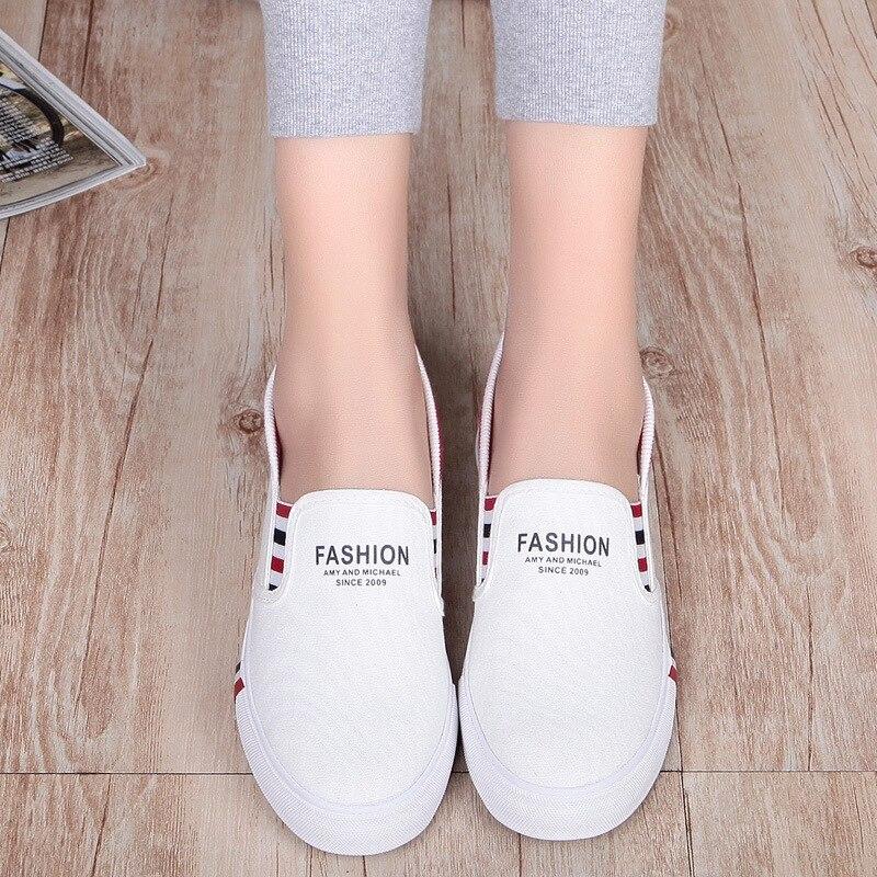 Plates Pied Blanc Casual Toile Bas Chaussures Étudiante Pédale qaPSY1w