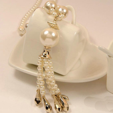 ABS pearl jewelry pendants necklaces 2016 K pop top quality fashion ladies tassel long pearl necklace women costume accessories