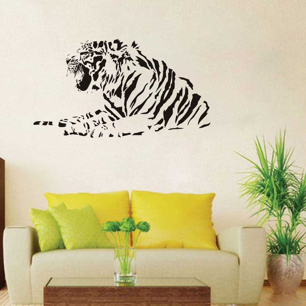 Lying Tiger Art Vinyl Wall Stickers Home Decor Living Room Custom ...