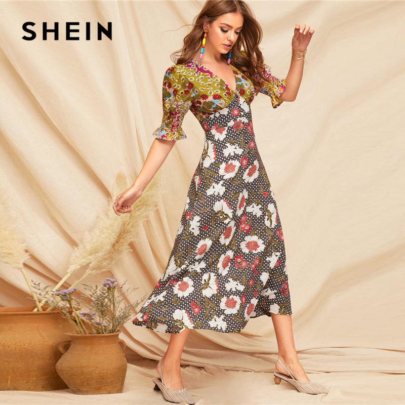 Image 4 - SHEIN Boho Multicolor Shirred Cuff Mixed Print Fit and Flare  Summer Long Dress Women Deep V Neck Puff Sleeve A Line Sexy  DressesDresses