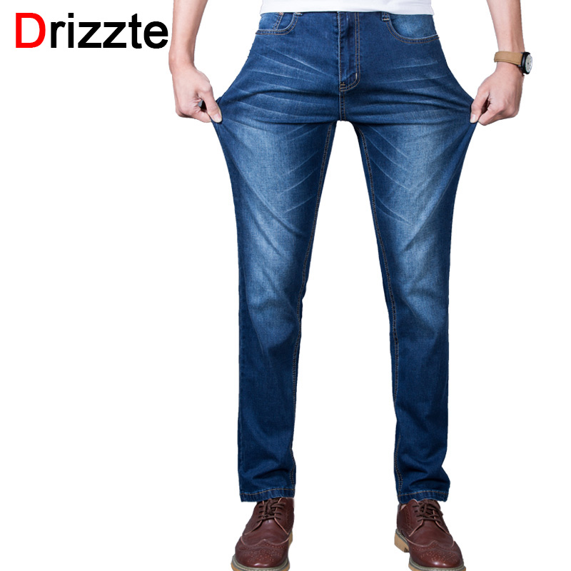 Drizzte Brand Men Plus Size 36 38 40 42 44 46 48 Stretch Jeans Blue Denim Fashion For Trousers Pnats Men's Silm Jean drizzte brand men stretch denim slim jeans black blue fashion trendy trousers pants size 33 34 35 36 38 40 42 for men s jean