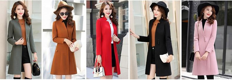 Outerwear Overcoat Autumn Jacket Casual Women New Fashion Long Woolen Coat Single Breasted Slim Type Female Winter Wool Coats 16