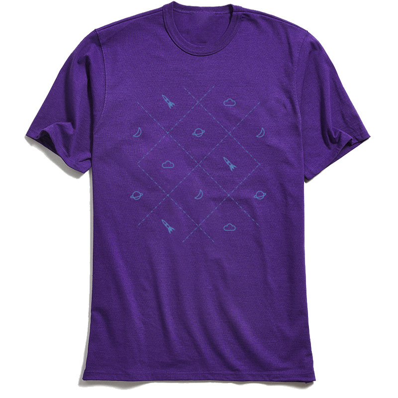 Simple Space Street Tshirts for Adult Cotton Summer Autumn T Shirt Summer Tops Shirts Short Sleeve Family Crewneck Simple Space purple