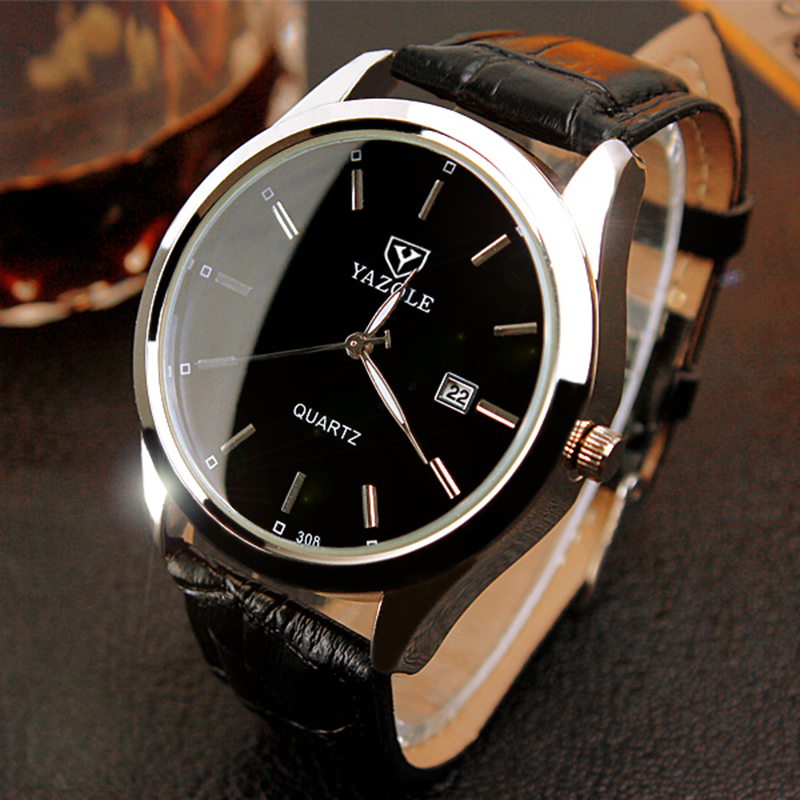 YAZOLE Business Watches Men Fashion Calendar erkek kol saati Top Brand Luxury Male Leather Clock Quartz Watch relogio masculino business men dress watch mens fashion quartz watches analog calendar steel male wristwatches kicadn casual clock erkek kol saati