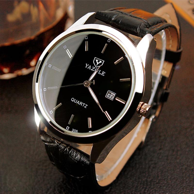 YAZOLE relojes hombres moda calendario erkek kol saati Top marca de lujo reloj de cuero masculino reloj de cuarzo relogio masculino