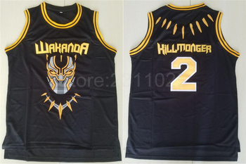 42ae9434 Ediwallen фильм Черная пантера 2 Hillmoager Эрик Killmonger WAKANDA баскетбольные  майки домашние черные дышащие вышивка