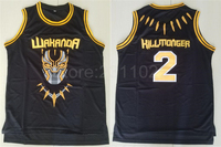 Ediwallen Movie Black Panther 2 Hillmoager Erik Killmonger WAKANDA Basketball Jerseys Home Black Breathable Embroidery