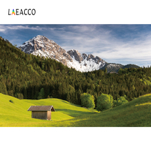 Laeacco Mountains Snow Forest Grassland Wooden House Photography Backgrounds Customized Photographic Backdrops For Photo Studio