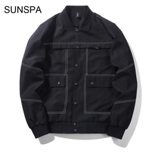 SUNSPA 2018 Spring Autumn Jacket Mens Bomber Jacket Men Jaqueta Masculino Covered Button Placket Rib Slleeve Casual Jacket M-3XL