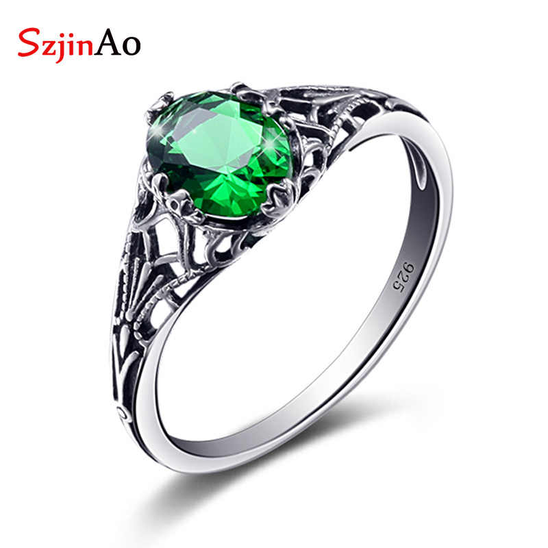 Szjinao Emerald Ring Women Bulgaria Jewelry Vintage Charms 925