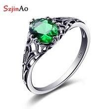 Szjinao anillo Plata de Ley 925 auténtica Esmeralda para mujer, joyería de moda, adornos Vintage, accesorio, regalos de boda