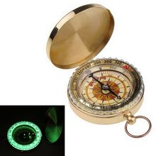 2019 Free Shipment Outdoor Camping Hiking Portable Brass Pocket Golden Compass Navigation Ring Hook Night-luminous Products
