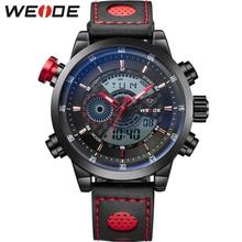 Weide sport zegarek kwarcowy cyfrowy lcd dual time 3atm data dzień alarm chronograph skórzany pasek pasek na zewnątrz mężczyźni wrist watch