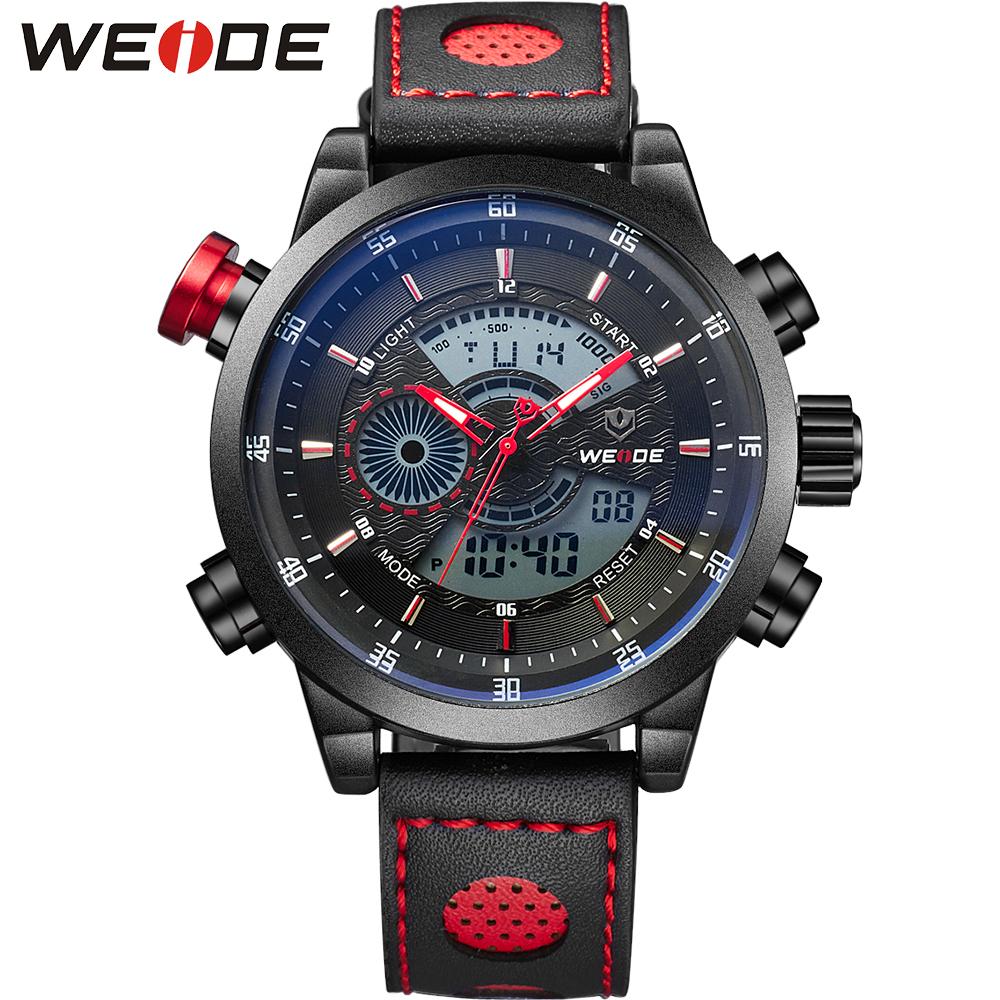 Prix pour Weide montre de sport 3atm quartz numérique lcd dual time date jour alarme chronographe en cuir de courroie de bande extérieure hommes montre-bracelet