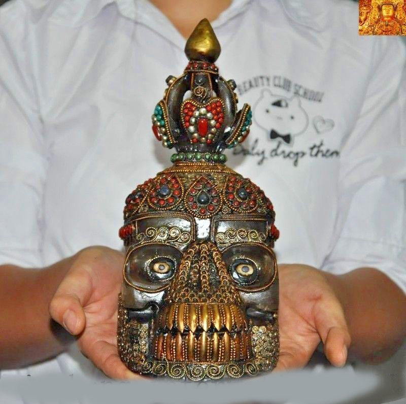 Wedding Decoration Tibet Crystal Silver 24k Gold Inlay Turquoise Gem Devil Skull Death-head Statue New Year