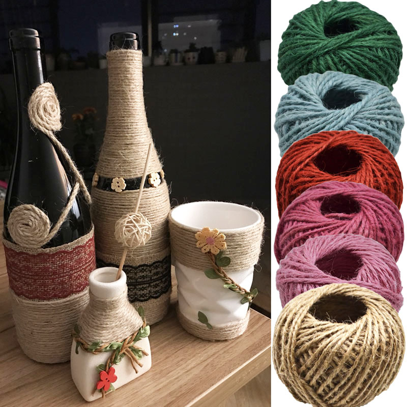 30M Natural arpillera Hessian Cable de hilo de yute rollo de cuerda de cáñamo hilo regalo envoltura festiva boda fiesta artesanía de costura diy Decoración 3D autoadhesivo impermeable patrón papel pintado borde decoración de pared en PVC pegatina extraíble base borde