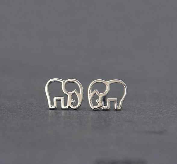 925 Sterling Silver Jewelry Fashion Cute Hollow Elephant Stud Earrings For Women Boucle d'oreille Pendientes VES6173