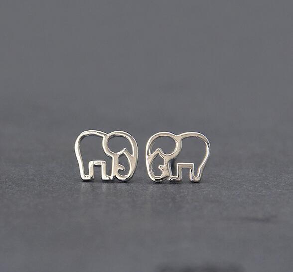 925 Sterling Silver Jewelry Fashion Cute Hollow Elephant Stud Earrings For Women Boucle D'oreille Pendientes VES6173