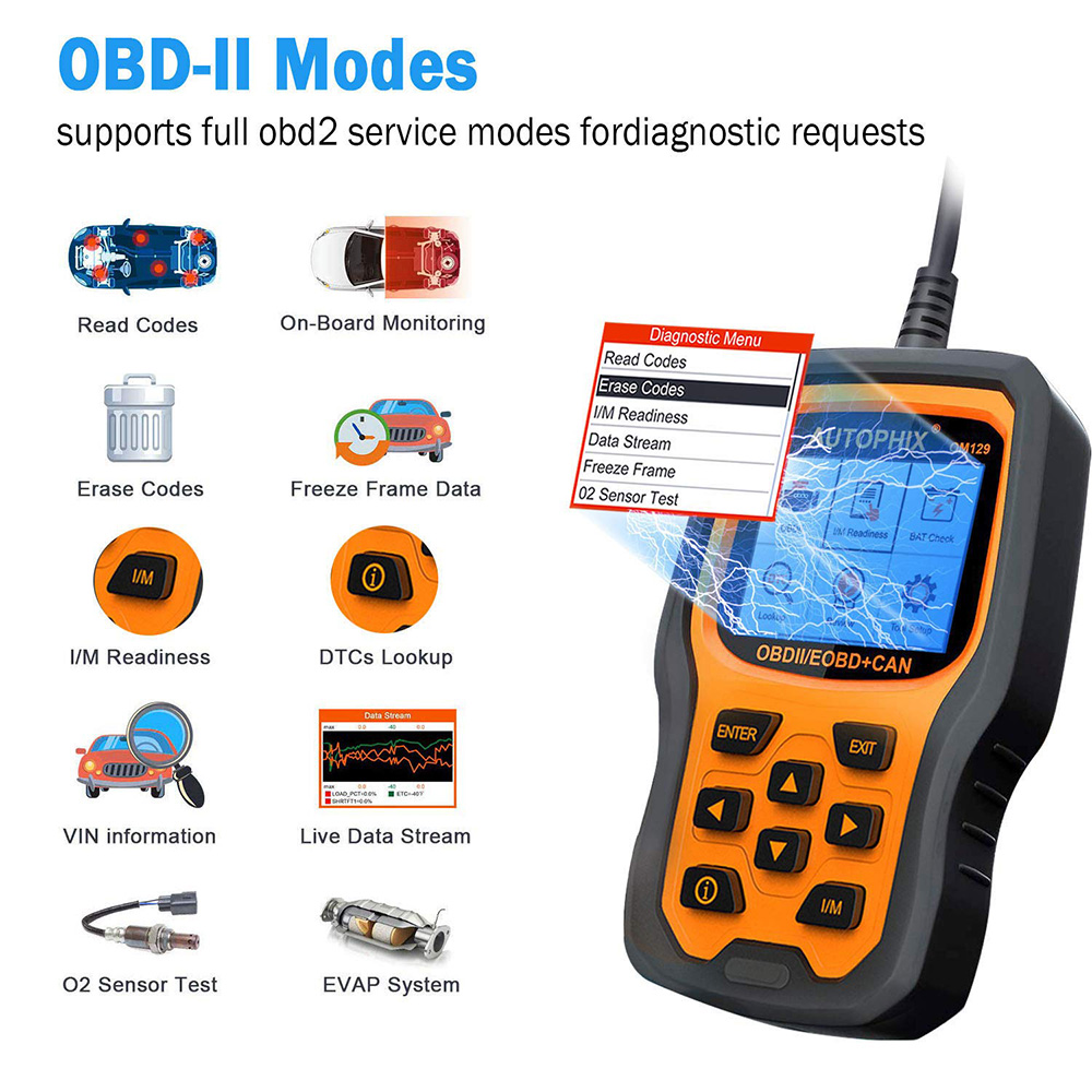 US $46 74 24% OFF|Autophix OM129 Car Diagnostic Tool Enhanced Automotive  OBD2 Scanner Auto Check Engine Battery Car Code Reader ODB2 15 Languages on