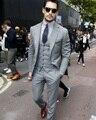 (Куртка + Жилет + Брюки) Мужская Крем Костюм Серый Жених Костюм С Брюками Дешевые Свадебные Смокинги Терно Masculino костюм Homme